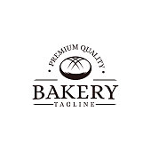Vintage retro hipster label emblem logo of bakery bread food