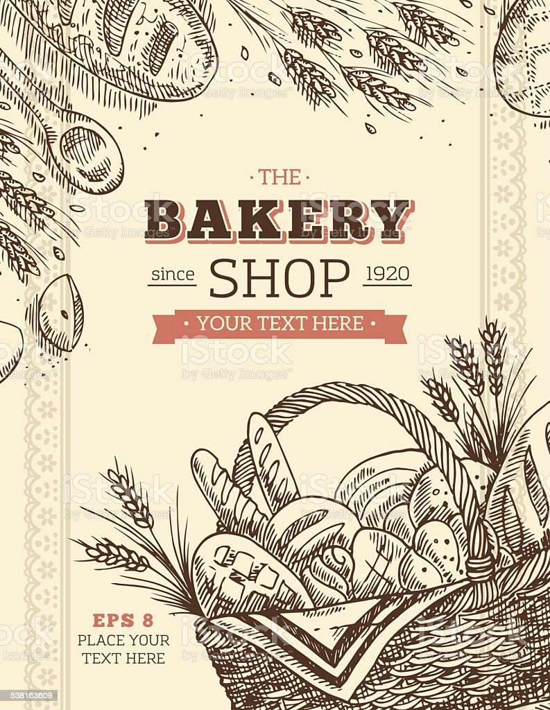 Vintage Bakery Card Template向量藝術插圖