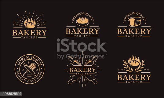 Vintage Bakery food vector set