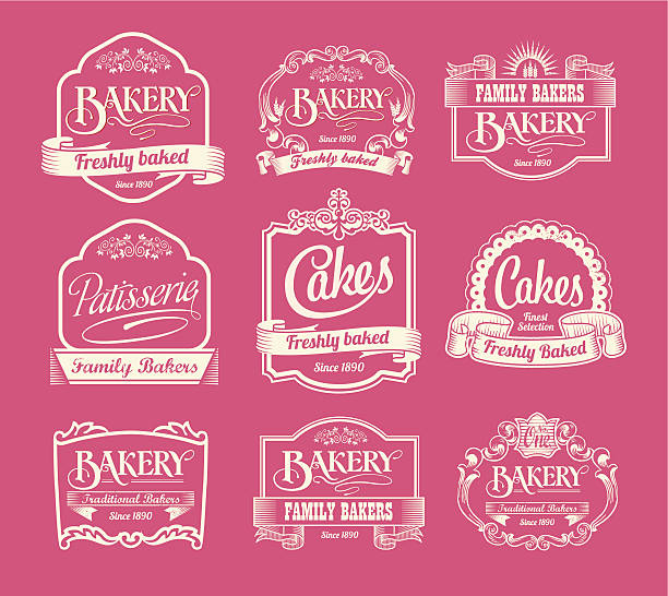 Vintage bakery labels, ribbons and decorative banners vector art illustration