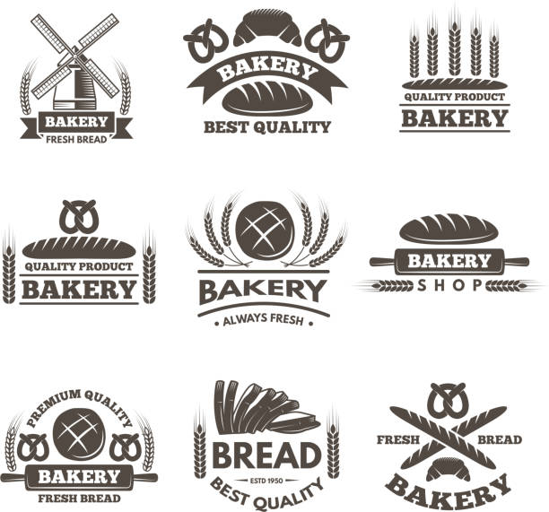Vintage bakery labels set.  template in vector style Vintage bakery labels set.  template in vector style. Bakery label shopt, badge and emblem bread market illustration bread borders stock illustrations