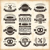 A set of fully editable vintage bakery labels in woodcut style. EPS10 vector illustration. Includes high resolution JPG.
