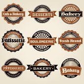 A set of vintage styled bakery labels. No gradients or transparencies were used. Color swatches are global for easy color edits.