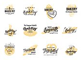 Vintage bakery lettering set. Vector color hand drawn vintage engraving illustration