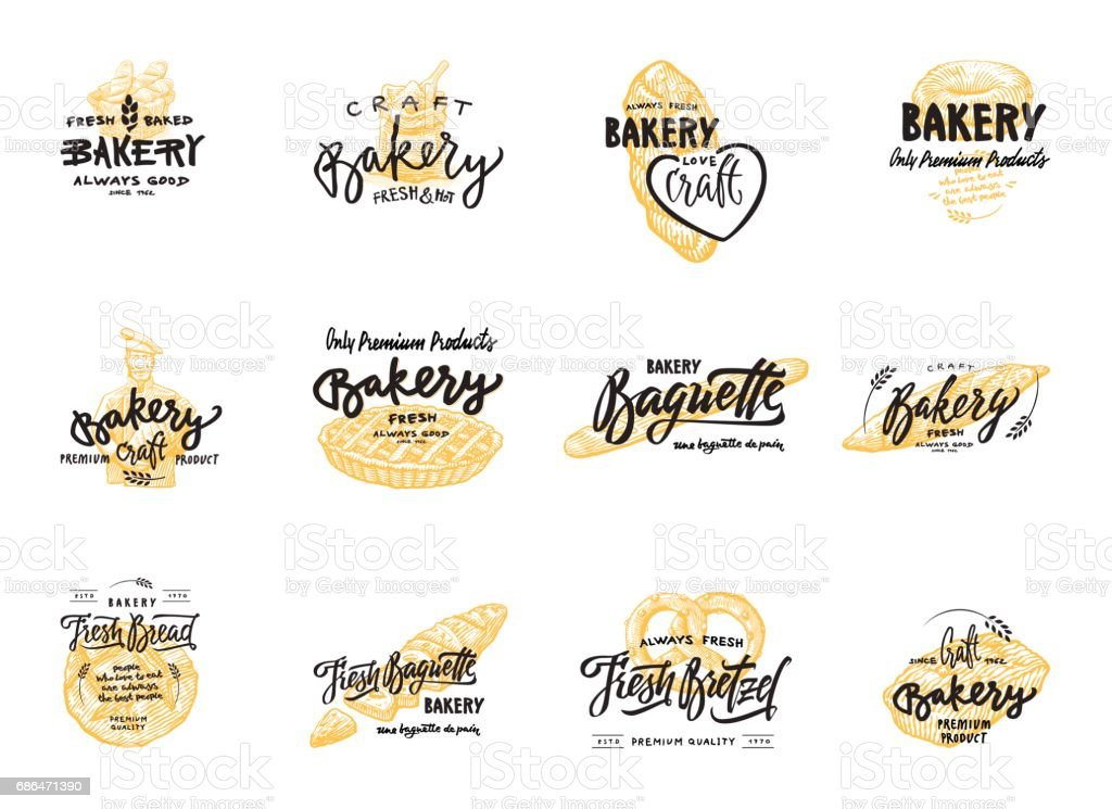 Vintage bakery lettering set. Vector color hand drawn vintage engraving illustration - illustrazione arte vettoriale