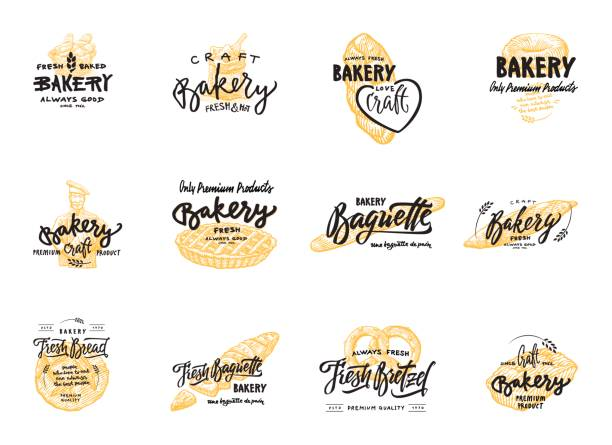 Vintage bakery lettering set. Vector color hand drawn vintage engraving illustration Vintage bakery lettering set. Vector color hand drawn vintage engraving illustration for label and menu bakery shop bread backgrounds stock illustrations