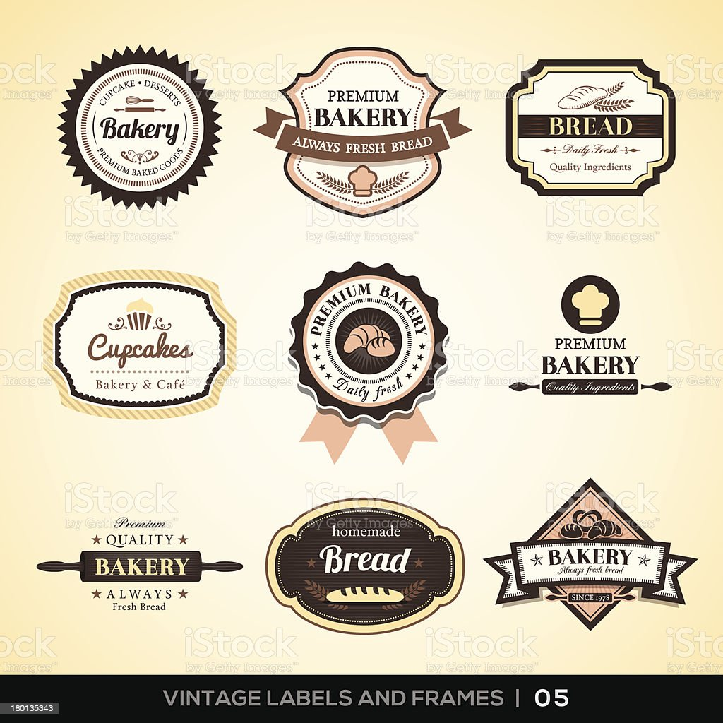 Vintage bakery logo labels and frames vector art illustration
