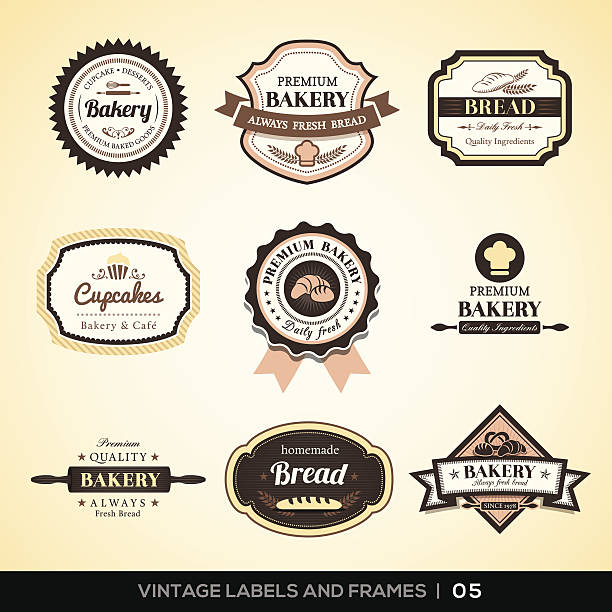 Vintage bakery logo labels and frames Vector set of Vintage bakery logo labels and frames design bread backgrounds stock illustrations