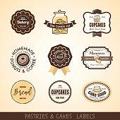 Vector set of Vintage bakery logo labels and frames design