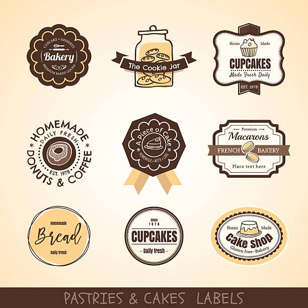 Vintage bakery logo labels and frames Vector set of Vintage bakery logo labels and frames design cake borders stock illustrations