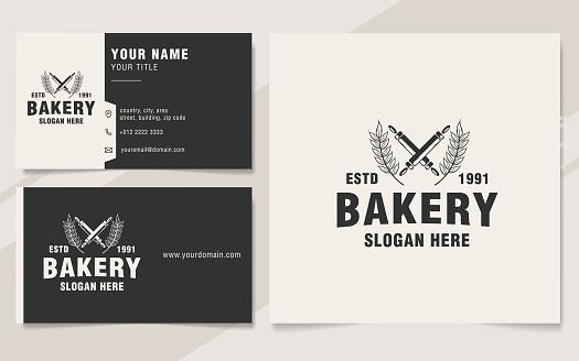 Vintage bakery logo template monogram style