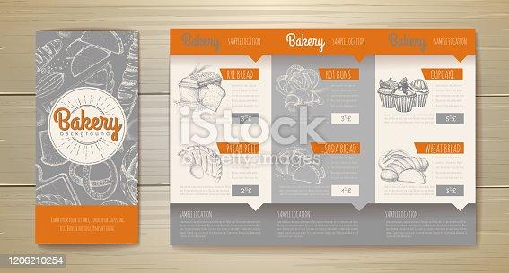 istock Vintage bakery menu design. Restaurant menu. Document template 1206210254