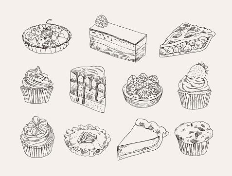 Vintage bakery set. Sweet pastry: cakes, tarts, cupcakes, pies