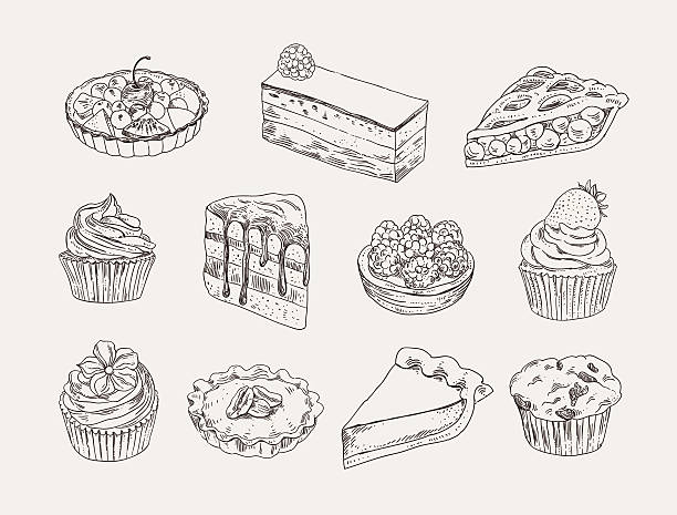 Vintage bakery set. Sweet pastry: cakes, tarts, cupcakes, pies Vintage bakery hand drawn illustration vector set. Sweet pastry, pies, tarts, cupcakes outline drawing cake drawings stock illustrations
