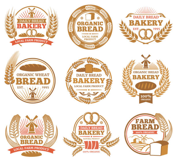 Vintage bakery vector labels with wheat ears and bread symbols Vintage bakery vector labels with wheat ears and bread symbols. Bakery vintage badge and emblem illustration bread borders stock illustrations