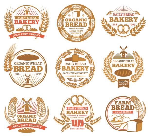 illustrazioni stock, clip art, cartoni animati e icone di tendenza di vintage bakery vector labels with wheat ears and bread symbols - pane forno