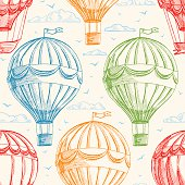 Vintage seamless background with balloons flying in the sky, clouds and birds