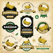 A collection of vintage styled banana labels. EPS 10 file, layered & grouped, with meshes and transparencies (shadows & overall effects only).