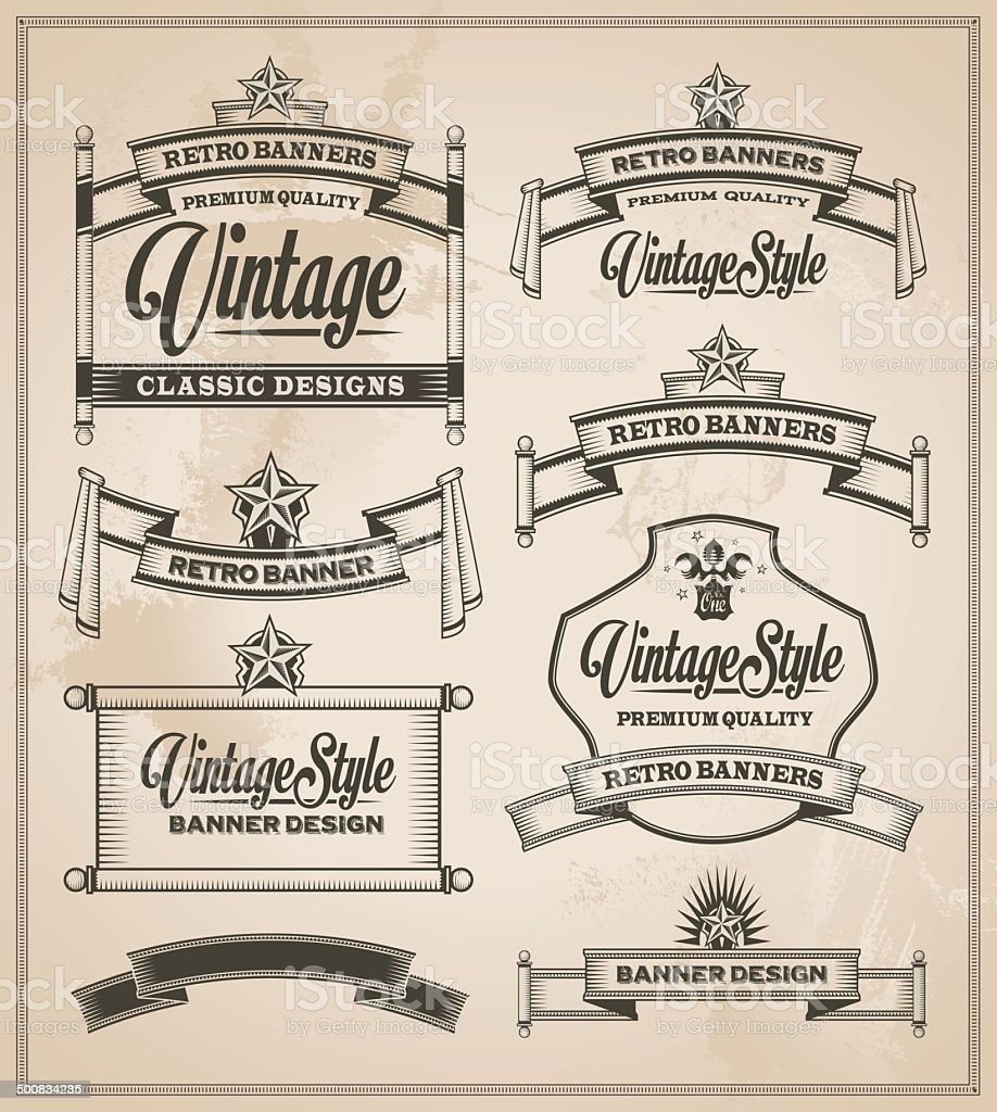 Vintage banner and ribbon set royalty-free vintage banner and ribbon set stock vector art & more images of arts culture and entertainment