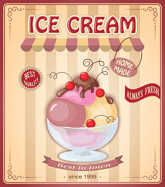 vintage banner with scoop ice cream Vector illustration banner with home made current ice cream in the glass bowl and chokolate sauce on the vintage background. Image for cafeteria, restaurant, menu, shop, ice cream parlor. Text always fresh, bect quality, best in town. eps10 bowl of ice cream stock illustrations