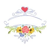 vintage banners and frames with flowers for you design