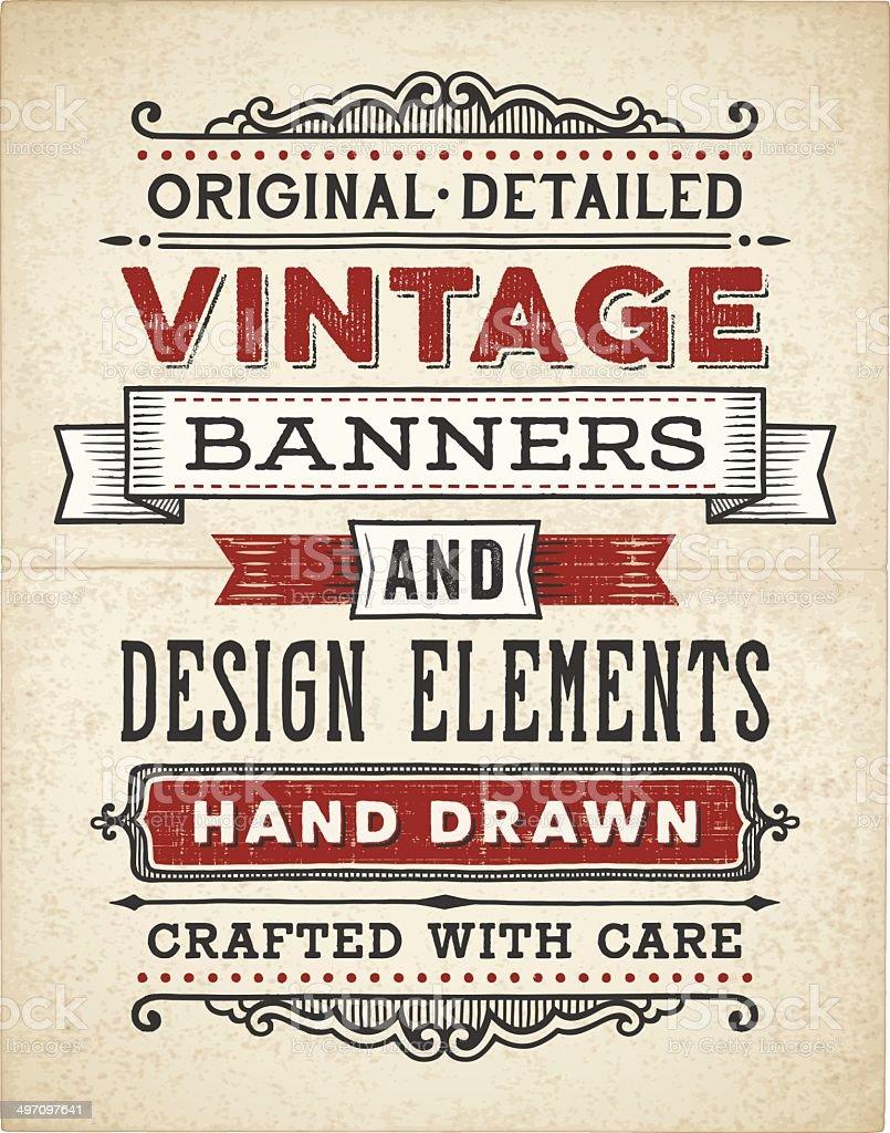 Vintage Banners Hand Drawn vector art illustration