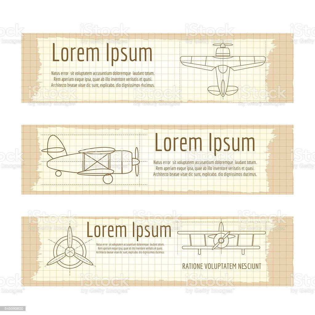 Vintage banners set with planes structure - ilustración de arte vectorial