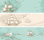 Vintage banners with sailing ships