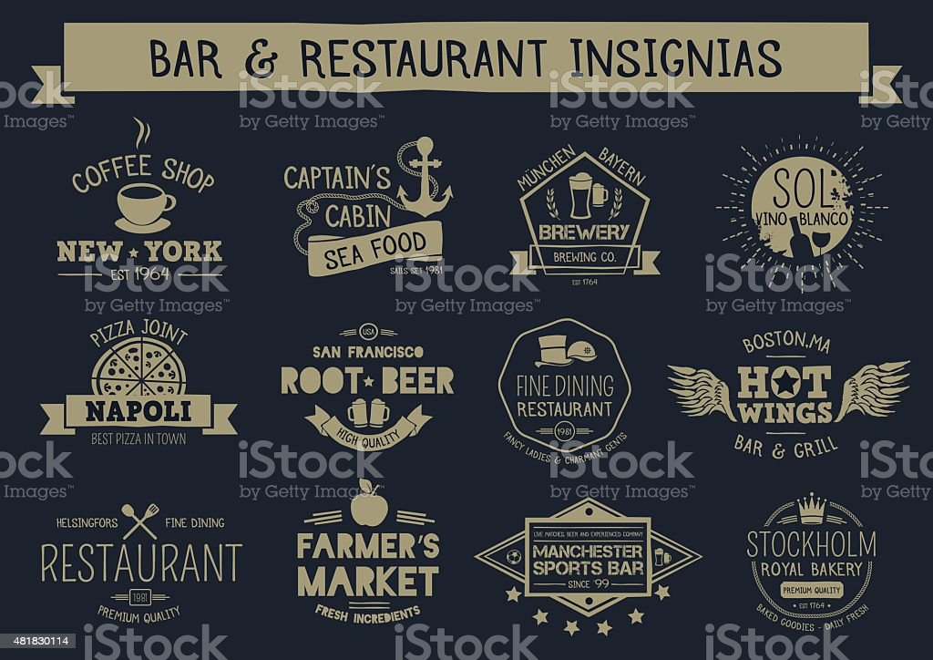 Vintage bar & restaurant insignias vector art illustration