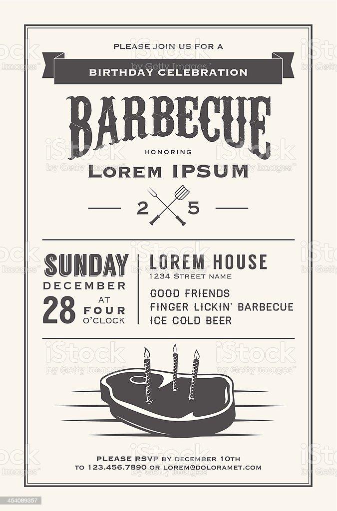 Vintage barbecue birthday celebration on December 28, Sunday vector art illustration