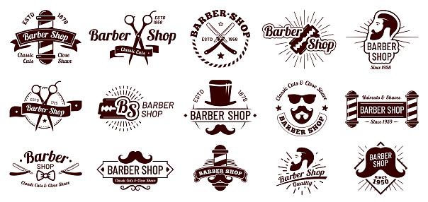 Vintage barber badges. Gentleman haircut styling, barbershop razor and shave salon. Mans hair haircuts badge vector illustration set
