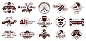 Vintage barber badges. Gentleman haircut styling, barbershop razor and shave salon. Mans hair haircuts badge, barbering logo or gentleman hairdresser badge. Vector illustration isolated icons set