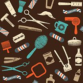 Vintage barber shop related seamless pattern 3