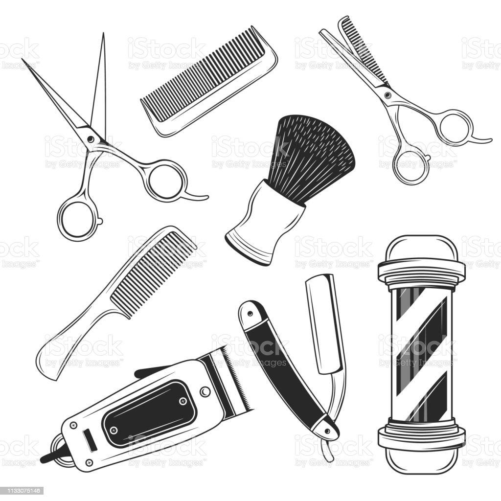 Artigos ajustados da loja do barbeiro do vintage. Elementos do projeto do Barbershop. Pólo de barbeiro, lâmina de barbear, aparador de cabelo, tesoura, pente, navalha reta. Elementos retros do barbeiro do vetor isolados no fundo branco - ilustração de arte em vetor