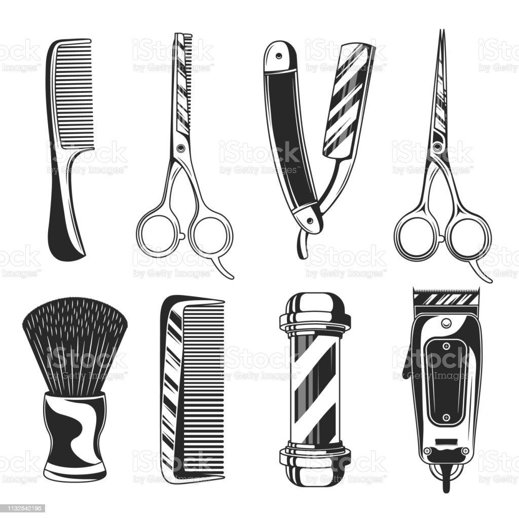 Artigos ajustados da loja do barbeiro do vintage. Equipamentos Barbershop. Pólo de barbeiro, lâmina de barbear, aparador de cabelo, tesoura, pente, navalha reta. Elementos retros do barbeiro do vetor isolados no fundo branco - ilustração de arte em vetor