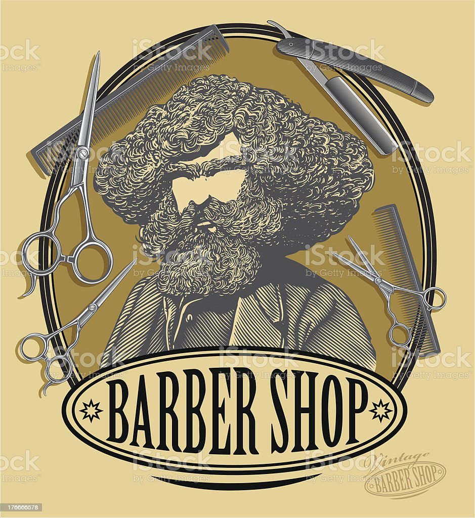 Vintage barber shop sign board with bearded man, scissors, razor royalty-free vintage barber shop sign board with bearded man scissors razor stock vector art & more images of adult