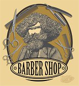 Barber shop sign board with bearded man, scissors, razor and comb in vintage engraved style