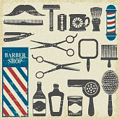 Vintage barber shop tools silhouette icons set 1