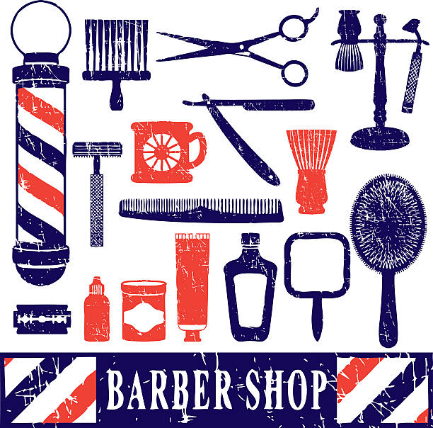 Logo With Barber Concept Design For Branding:  Barber Pole Illustrations, Royalty-Free Vector Graphics