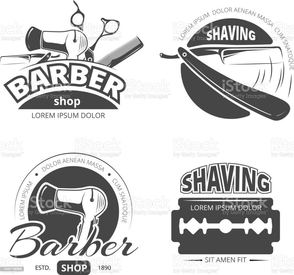 Top Vintage Barber Shop Vector Logo Labels And Badges Stock Vector Art  UL14