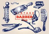 Vintage barbershop elements. Set 1
