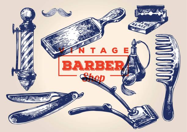 Vintage barbershop elements. Set 1 vector art illustration