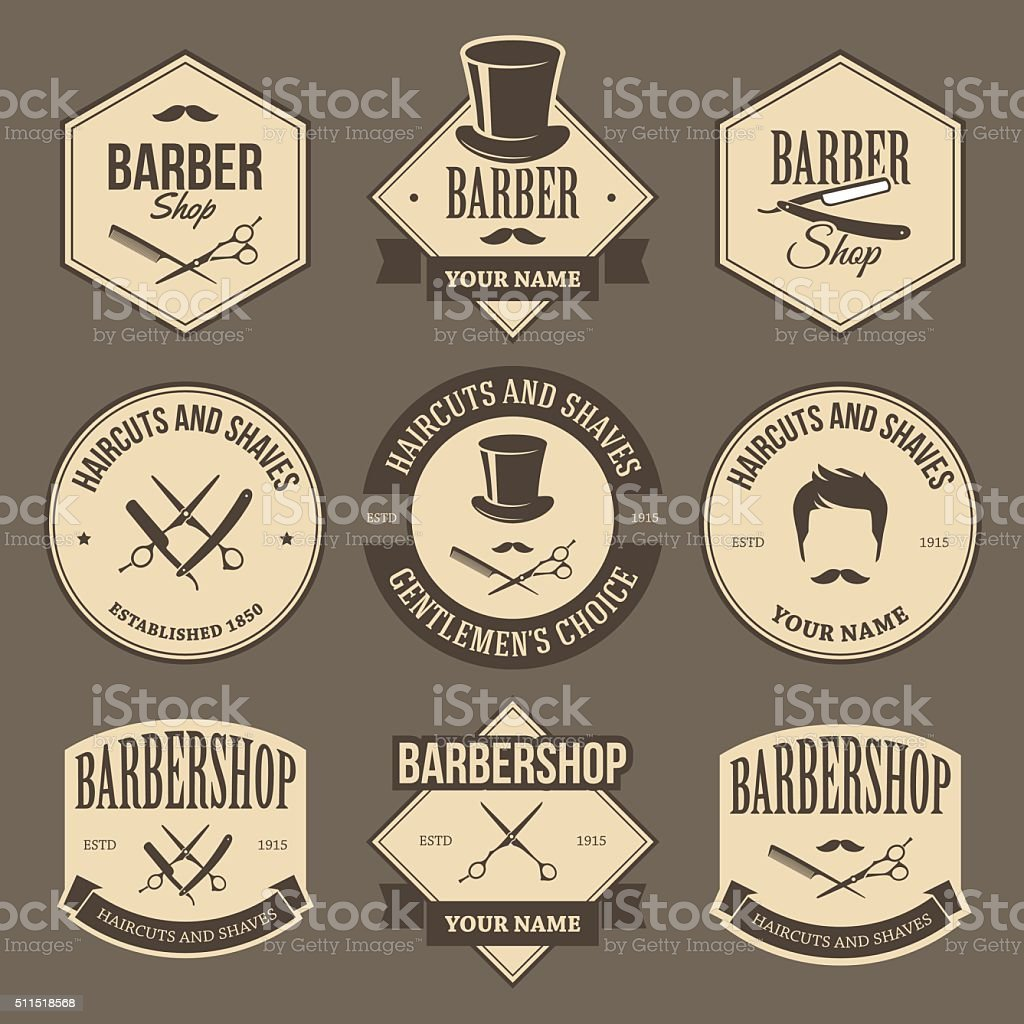 Vintage barbershop labels vector art illustration