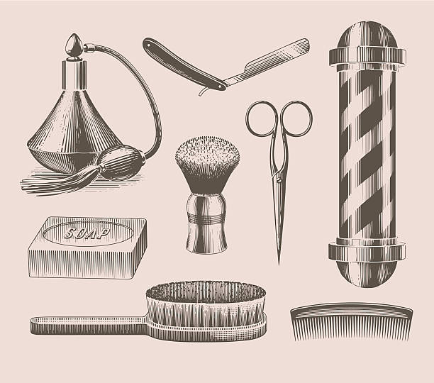 Vintage barbershop objects vector art illustration