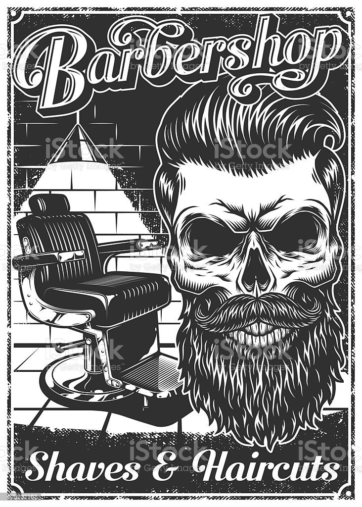 Well-liked Vintage Barbershop Poster With Barber Chair And Skull Stock Vector  MD13
