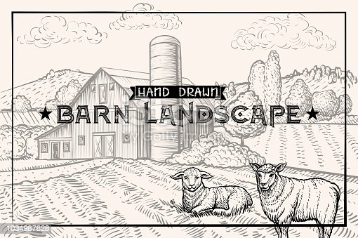 Vintage barn landscape and Farm animals Lamb and Sheep. Textured Horizontal Poster Template. Retro styled Sketched Engraving vector illustration