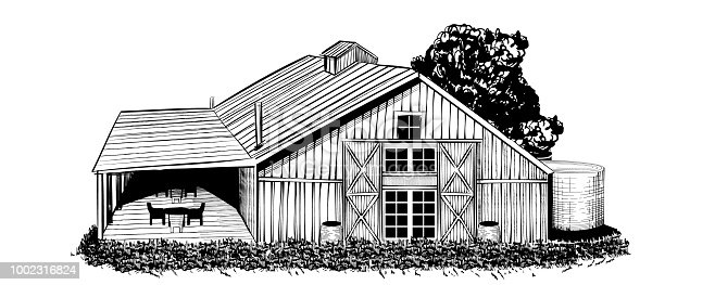 Vintage barn vector illustration. Hand drawn sketch style.
