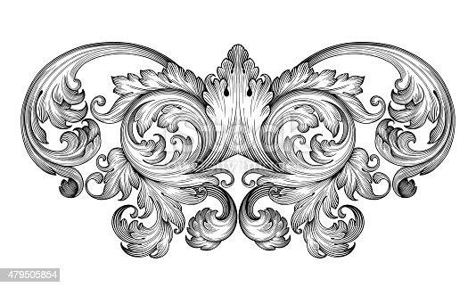 istock Vintage baroque frame engraving  scroll ornament 479505854