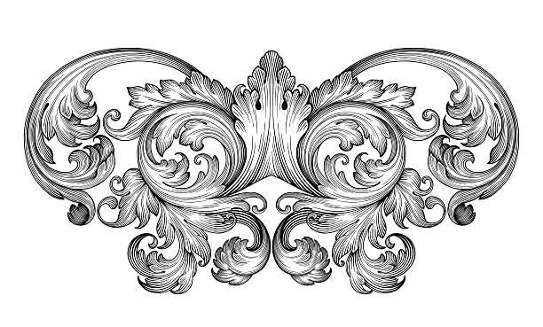 bildbanksillustrationer, clip art samt tecknat material och ikoner med vintage baroque frame engraving  scroll ornament - barockstil