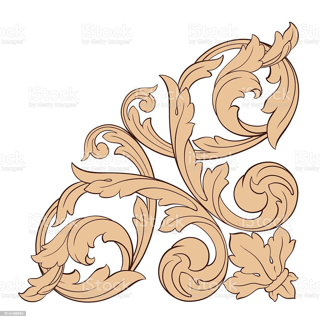 Antique Scroll Vector: Vintage Baroque Frame Engraving Scroll Ornament Stock